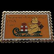 Season's Greetings Teddy Bear Sleigh Stamp Pin