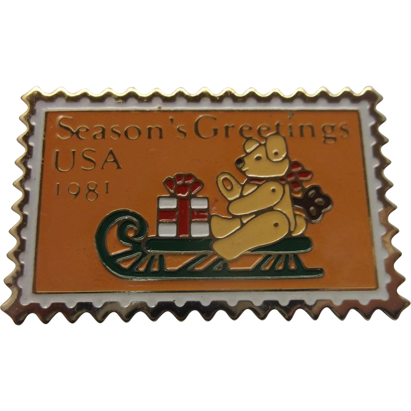 Season's Greetings Teddy Bear Sleigh Stamp Pin