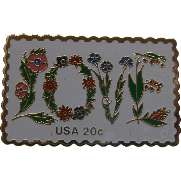 LOVE Floral 20 Cent Stamp Pin Jayne Co.
