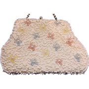 Beaded Seed Bead Floral White Coin Child's Purse