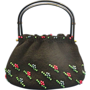 Black Bright Beaded Slump Bag Lucite Handles