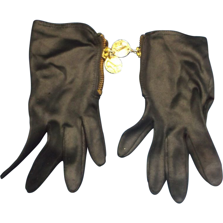 Black Satin Wrist Length Gloves Zipper Gold Tone Coin Pulls