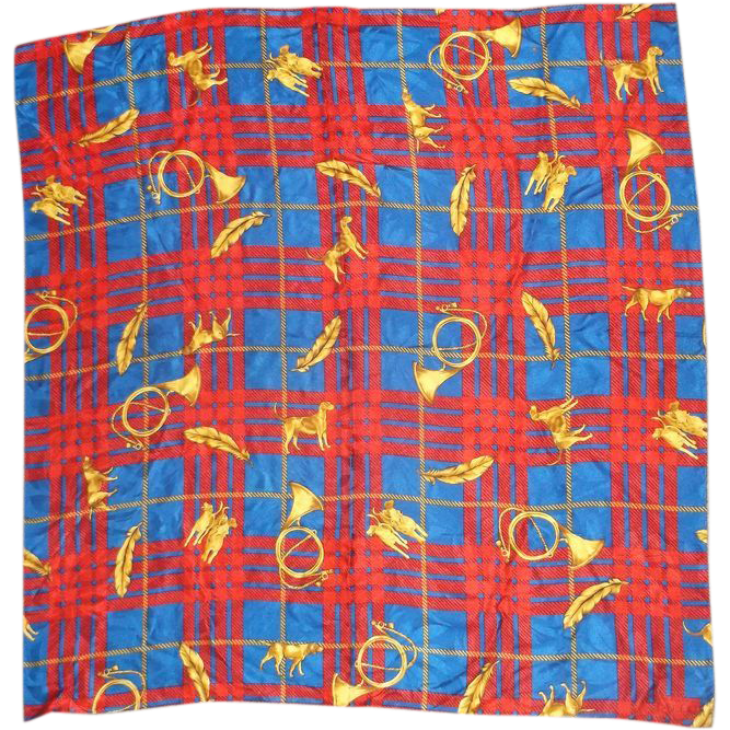 Adrianna Papell Blue Red Gold Plaid Silk Scarf 34""