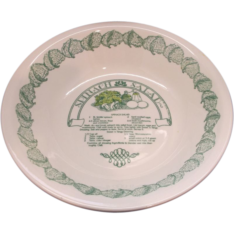 Royal China Spinach Salad Garden Classics Recipe Serving Bowl