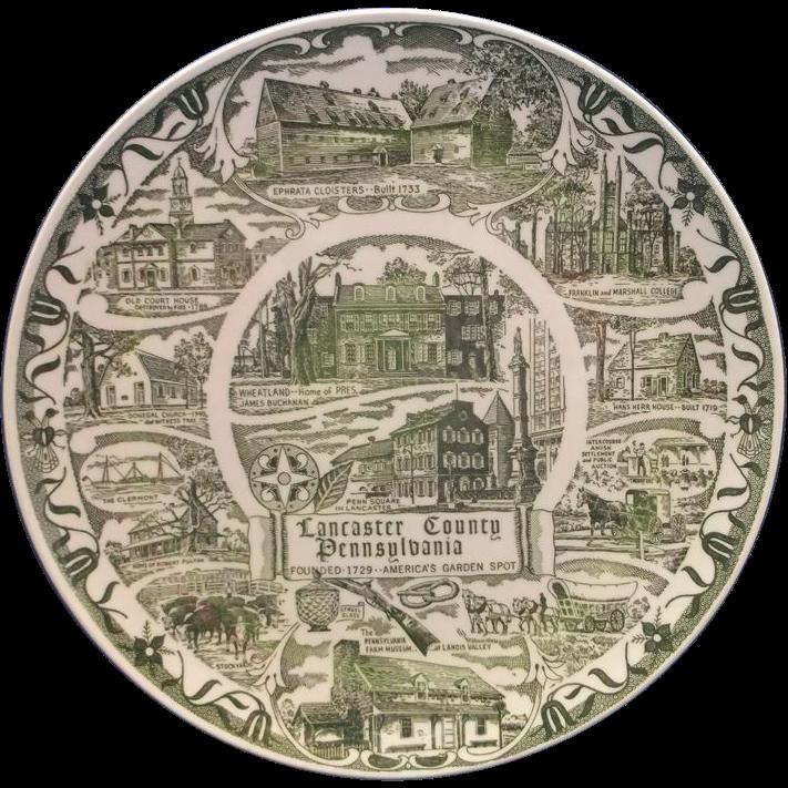 Lancaster County Green Transferware Souvenir Plate