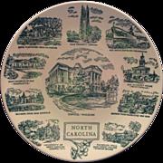 North Carolina Souvenir Plate Green Transferware Kettlespring Kilns Lith O Sketch