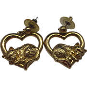 Avon Heart Sleeping Kitty Cat Earrings