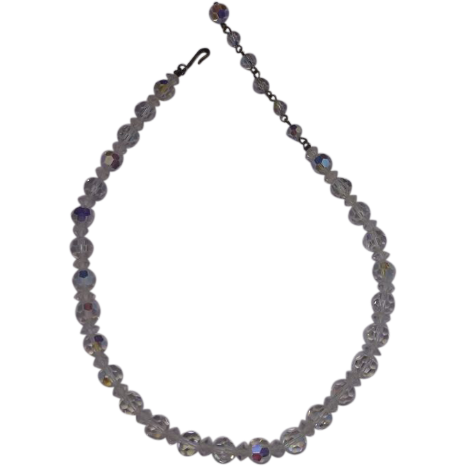 Coro Aurora Borealis Crystal Necklace Choker Single Strand