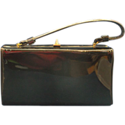 Black Patent Box Purse Trapezoid Classic