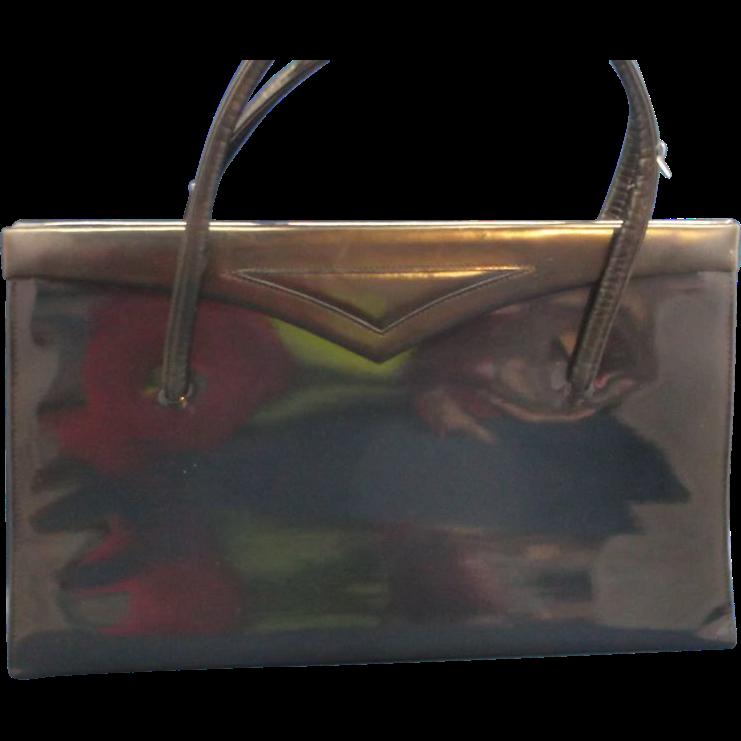 Lennox Navy Blue Trapezoid Patent Handbag Purse