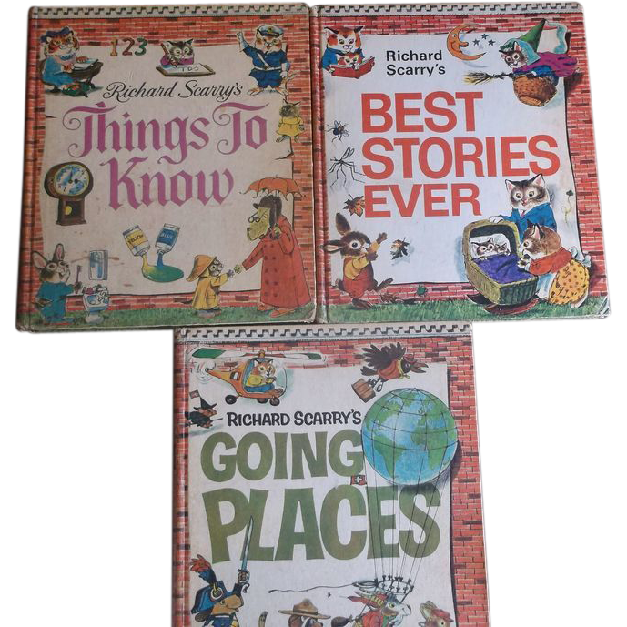 Richard Scarry's Best Stories Ever, Things to Know, and Going Places Compilation Volumes 1970s