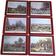 Equestrian English Fox Hunt Red Border Place Lunch Mats Pimpernel Cork Back Set of 6