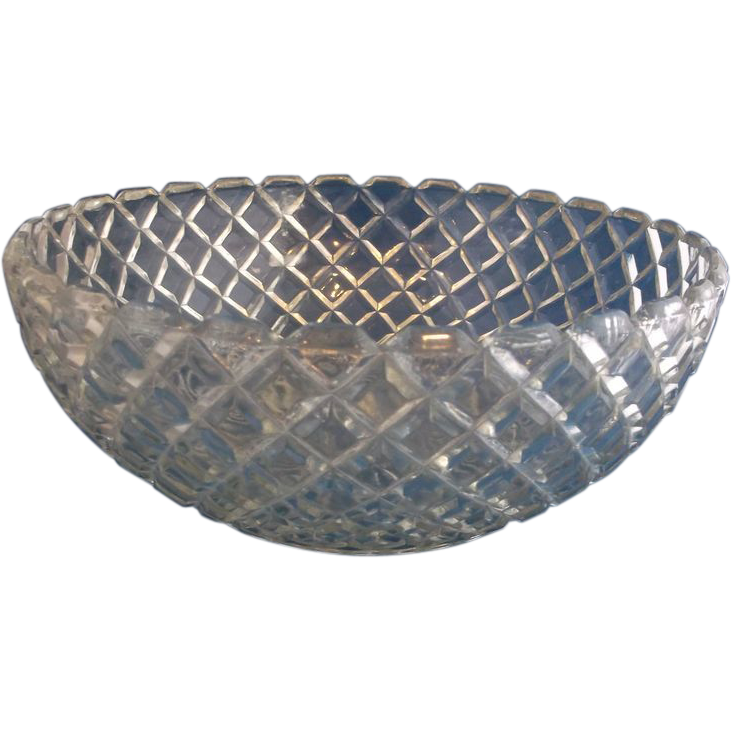 """Anchor Hocking Waterford Waffle Depression Glass Serving Bowl 8 1/4"""""""