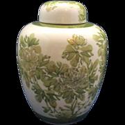 Green Hand Painted Floral Porcelain Ginger Jar Large Made in Japan