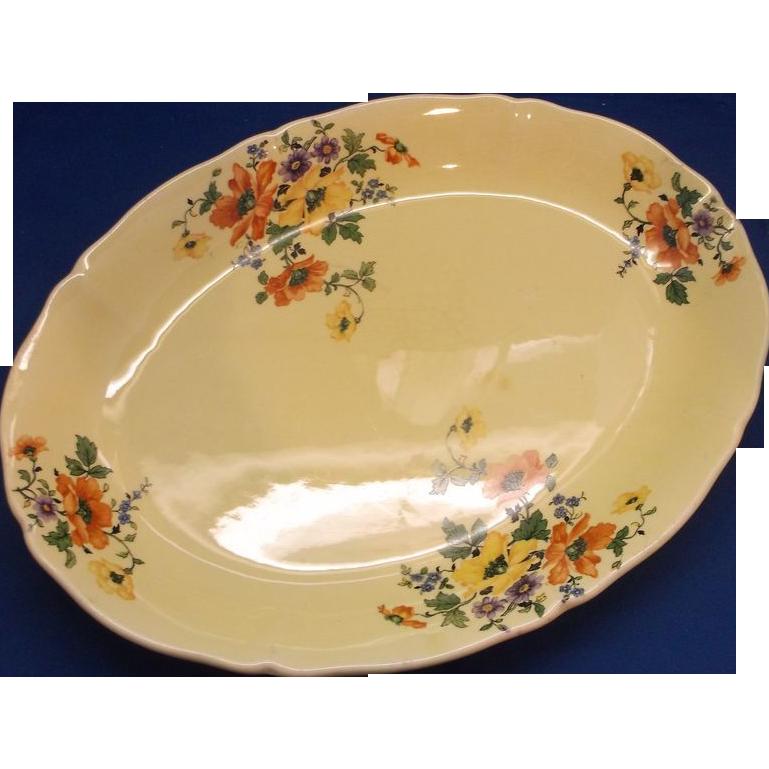 Yellow Glaze Poppies Nasturtiums Oval Platter Unmarked