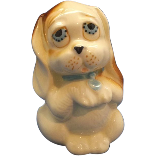 Hand Painted Dog Figurine Basset Hound Pottery