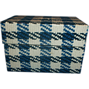 Phoenixville Blue Plaid Metal Recipe Box With Cards