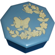 Hong Kong Jasperware Style Blue Cream Butterfly Flower Trinket Box Plastic
