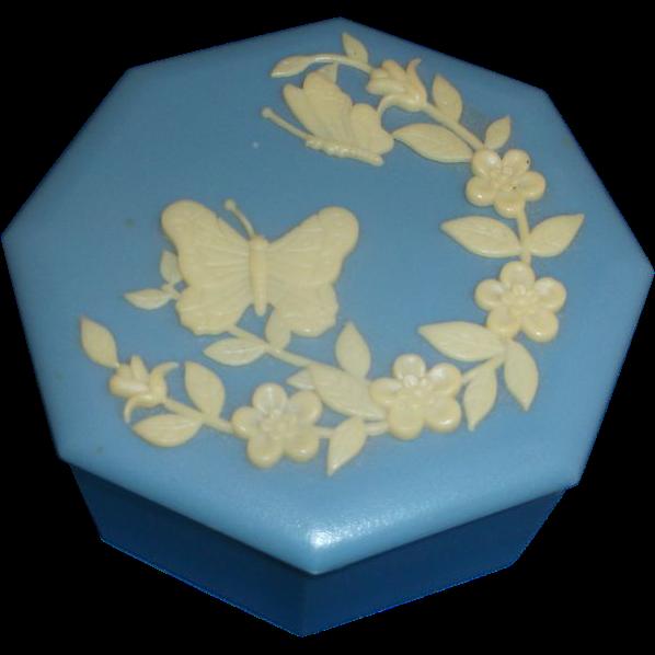 Hong Kong Jasperware Style Blue Cream Butterfly Flower Trinket Box Plastic