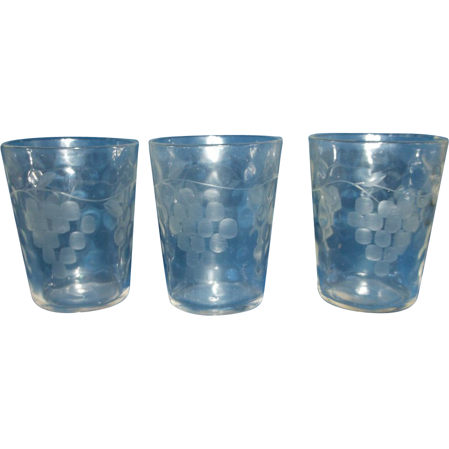 Federal Glass Raindrops Optic Grape Cut Tiny Shot Glass Tumblers