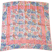 Pink Blue Floral Silk Scarf Roses Carnations Tulips