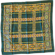 Echo Deep Green Jewel Tones Stained Glass Mosaic Pattern Scarf