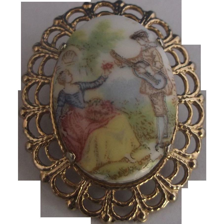 Fragonard Scene Oval Brooch Pin Gold Tone Filigree