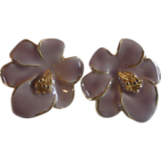 Pink Enamel Flower Earrings Gold Plated