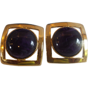 Purple Circle Cab Gold Plated Square Earrings