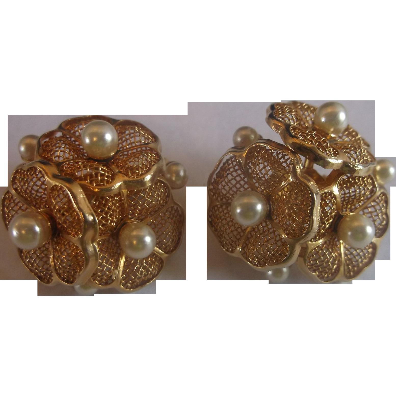 Gold Tone Filigree Flower Cluster Earrings Faux Pearls
