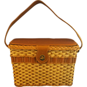 Straw Wicker Leather Basket Purse