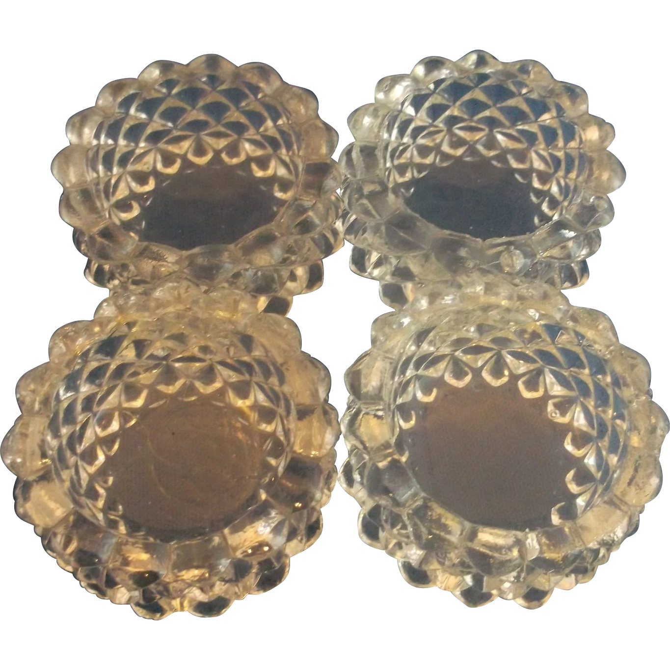 Clear Glass Open Salt Cellars Quilted Diamond Set of 4