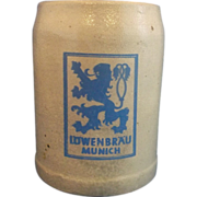 Lowenbrau Munich Salt Glazed Beer Stein .5L Blue Grey