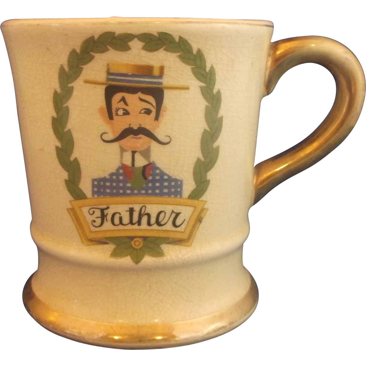 Father Wreath Shaving Mug Gold Handle Trim