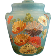 Ransburg Sky Blue Hand Painted Flowers Cookie Jar Stoneware Crock 1930s