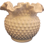 "Fenton Hobnail White Milk Glass Double Crimped 5 1/2"" Vase"