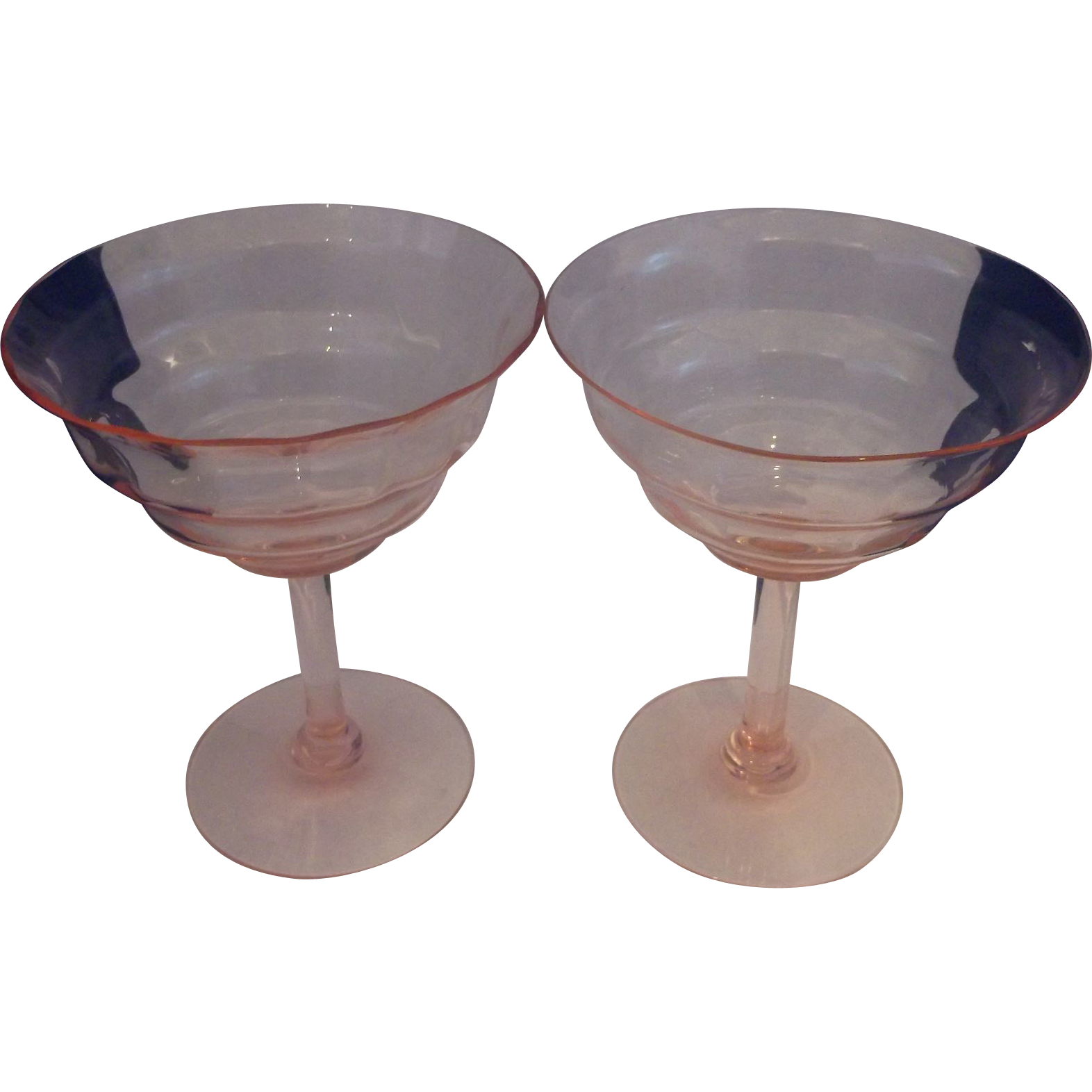 Pink Optic Depression Glass Sherbet Champagne Stems Pair