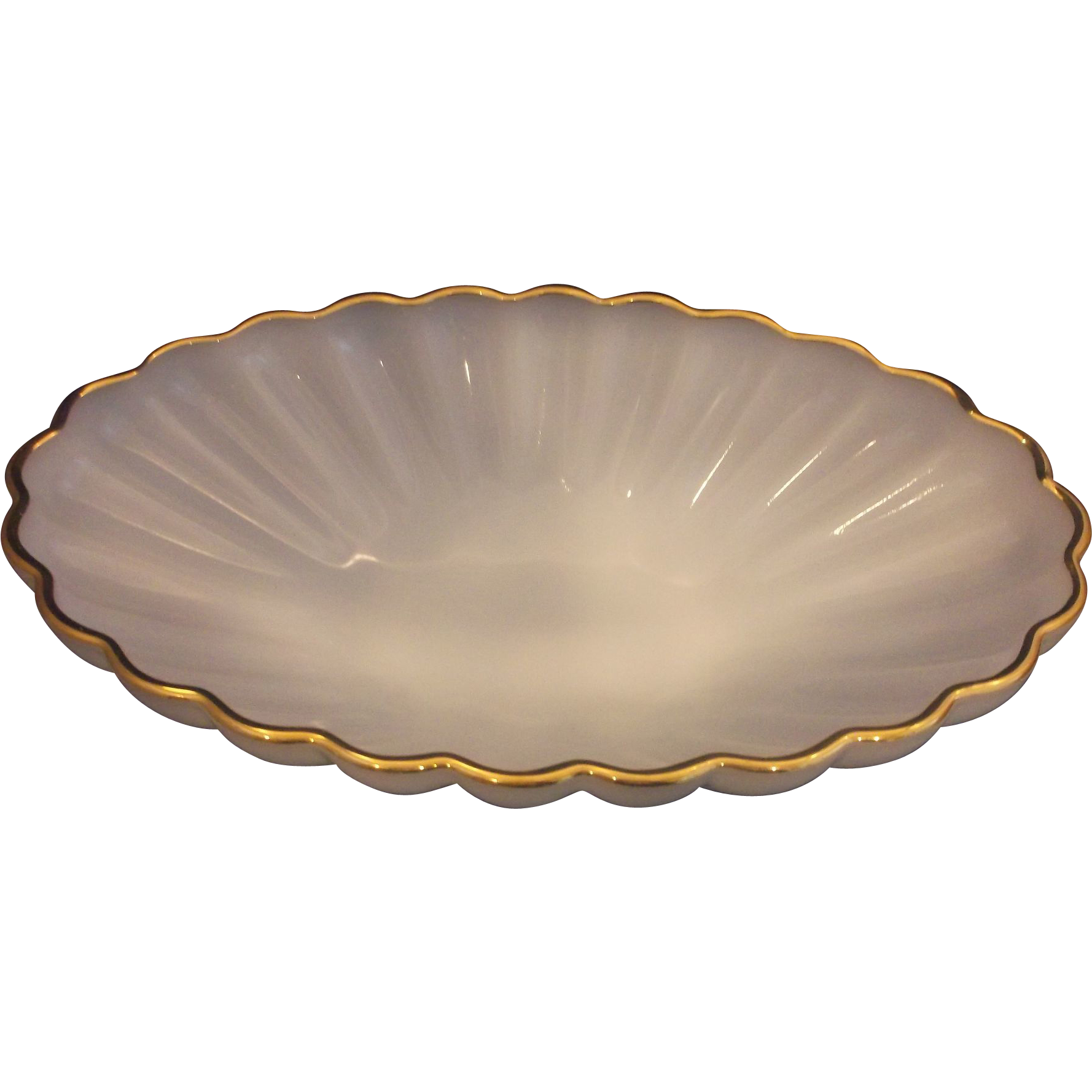 Anchor Hocking Classic Golden Shell Oval Console Serving Bowl