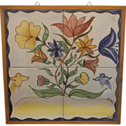Hand Painted Flowers Blue Yellow Birds Ceramic Art Tile Trivet Wall Hanging