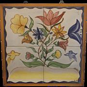 Hand Painted Flowers Blue Yellow Birds Ceramic Art Tile Trivet Wall Hanging