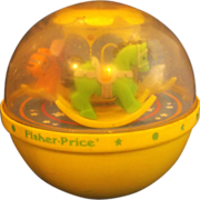 Fisher-Price Roly Poly Chime Jingle Ball Yellow 1985 Rocking Horse Swan Bear