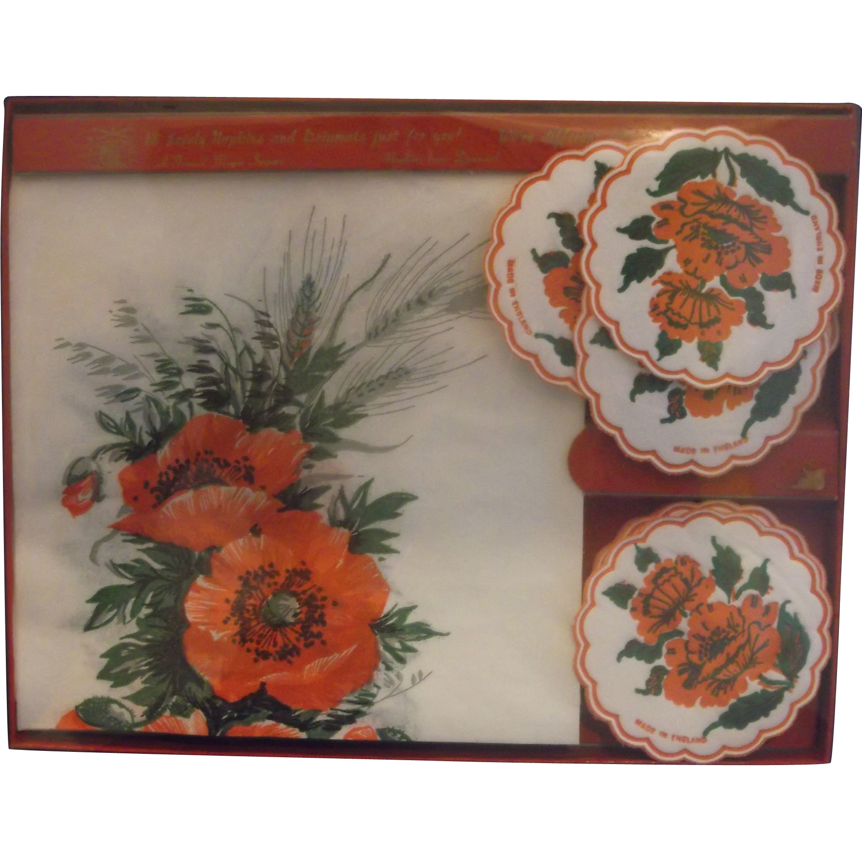 Red Flowers Paper Napkin Coaster Drip Mats Set New In Box Freund Meyer
