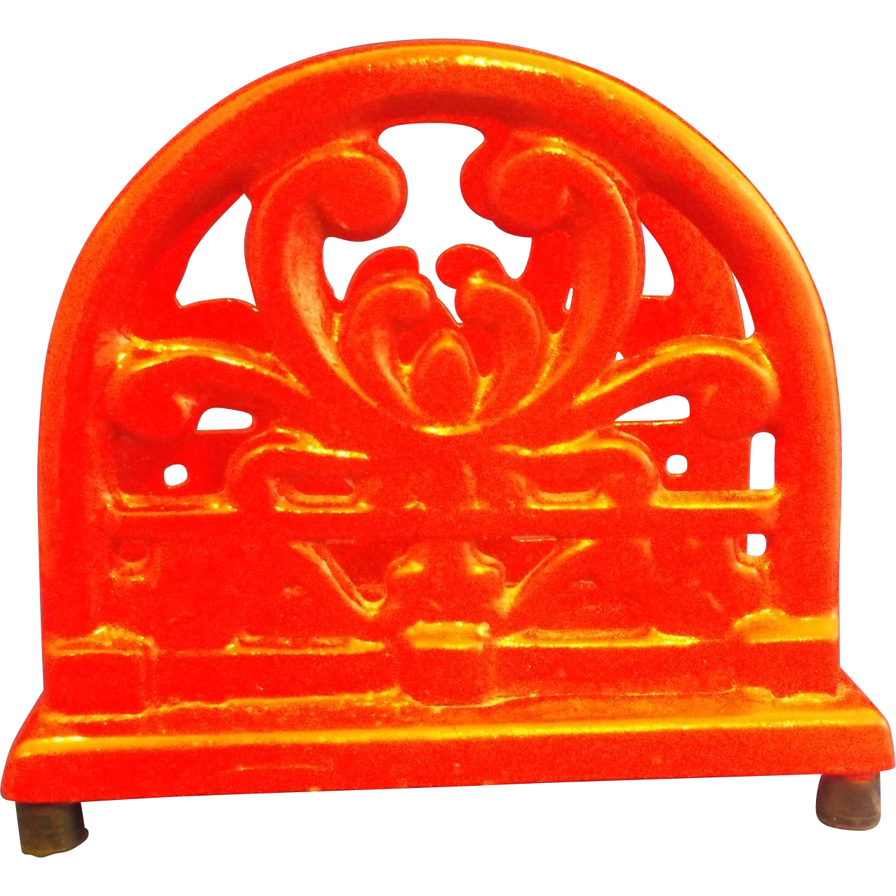 Red Enamel Cast Iron Napkin Holder