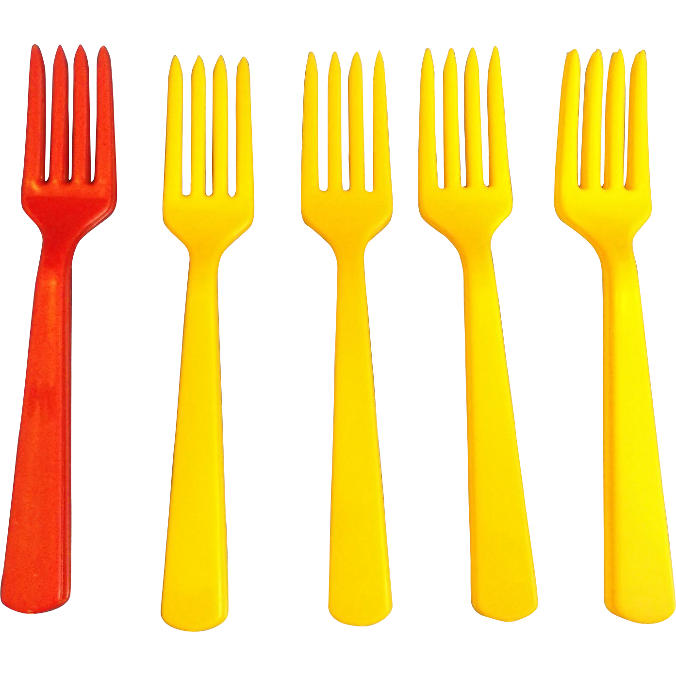 Vintage Plastic Forks Flatware Yellow Red Set of 10