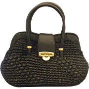Viva! Made in Italy Black Raffia 1960s Handbag