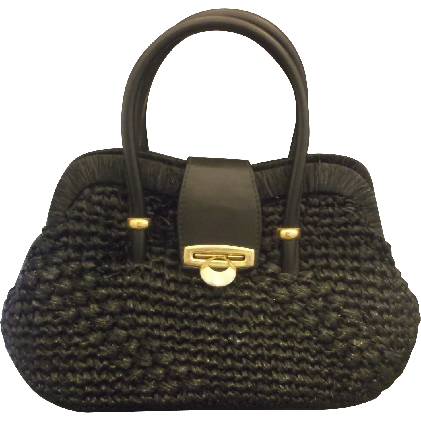 Viva! Made in Italy Black Raffia 1960s Handbag