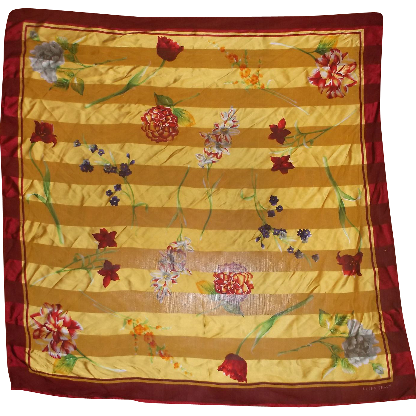 Ellen Tracy Yellow Scarf Floral Print Red Border