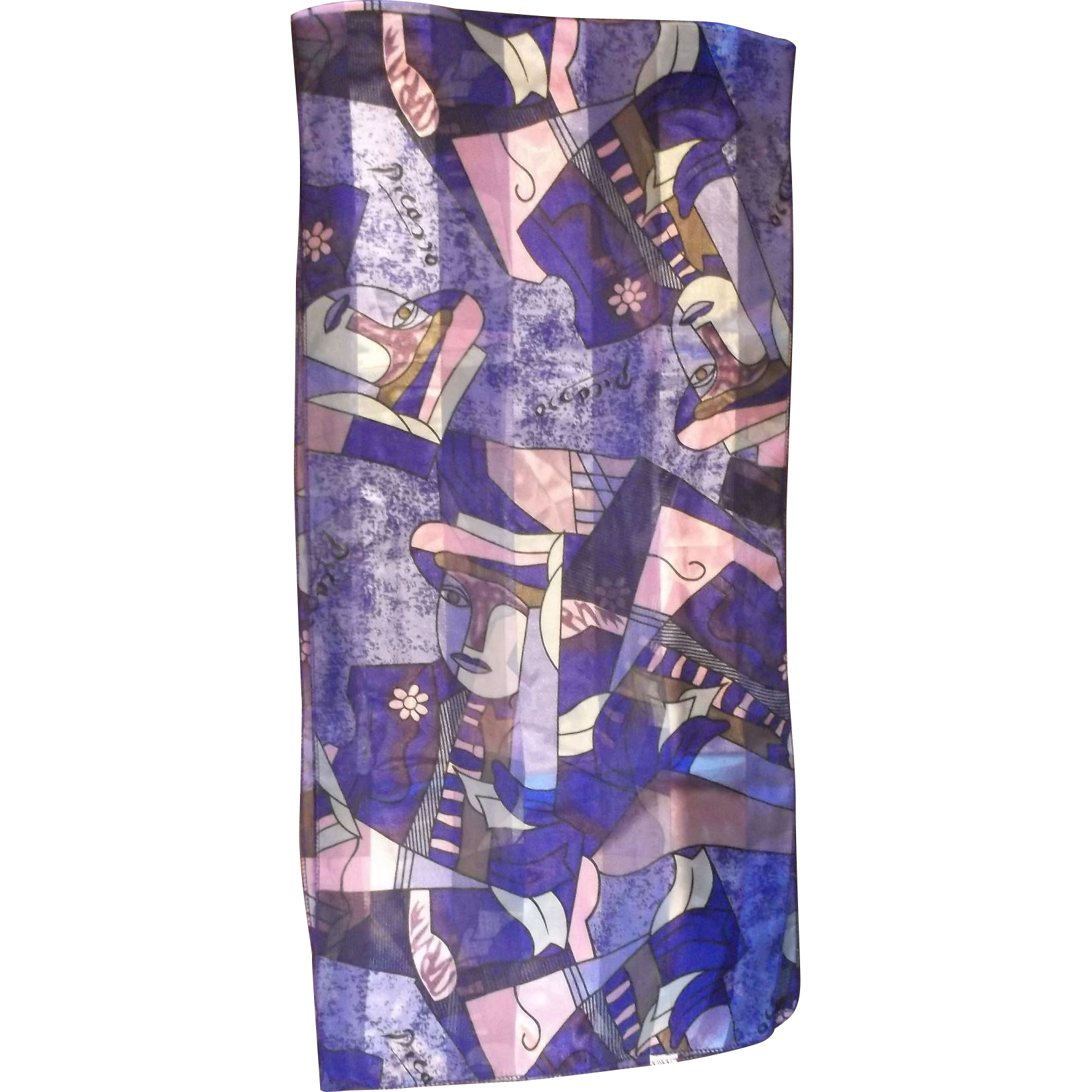 Picasso Purple Pink Cubist Jacquard Oblong Scarf Polyester Made in Korea
