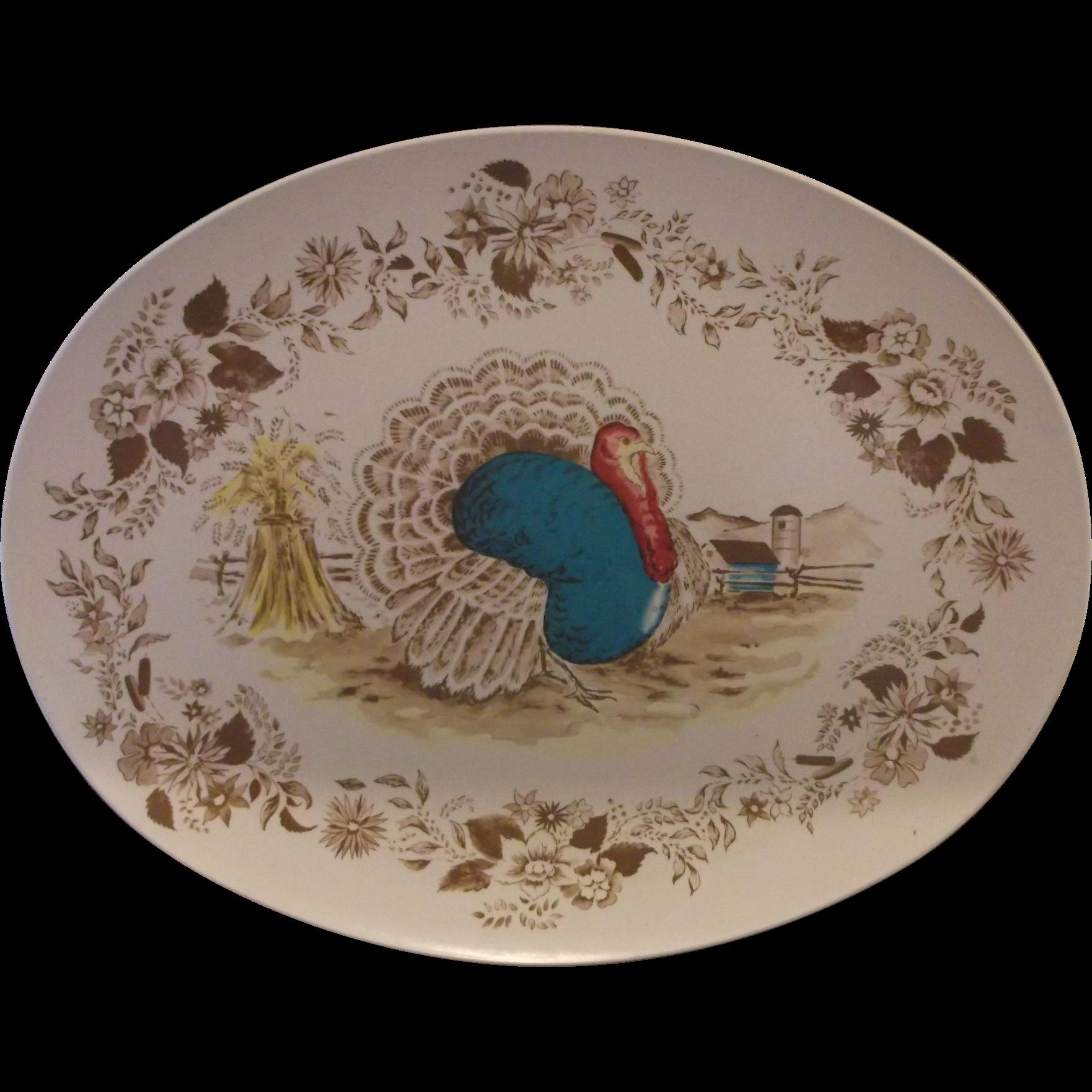 Thanksgiving Turkey Melmac Platter Royal Nottingham Northern Boston