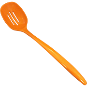 Bright Orange Melmac Melamine Slotted Serving Spoon Made in Taiwan